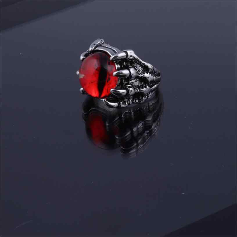 Personality Devil's Eye Men's Ring Dragon Claw Eagle Claw Devil Eye Ring Gothic Punk Stainless Steel Open Couple Ring