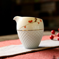 Handpainted Chinese Kung Fu Tea Set Ceramic Hand Made Justice Cup Flower Pattern Tea Cups White Porcelain Fair Cup
