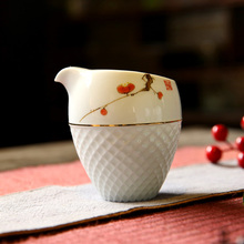 Handpainted Chinese Kung Fu Tea Set Ceramic Hand Made Justice Cup Flower Pattern Cups White Porcelain Fair