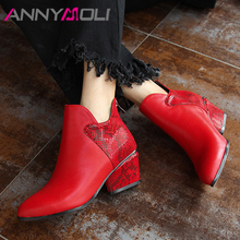Купить с кэшбэком ANNYMOLI Autumn Ankle Boots Women Natural Genuine Leather High Heel Short Boots Snake Print Zipper Shoes Ladies Winter Red 33-43