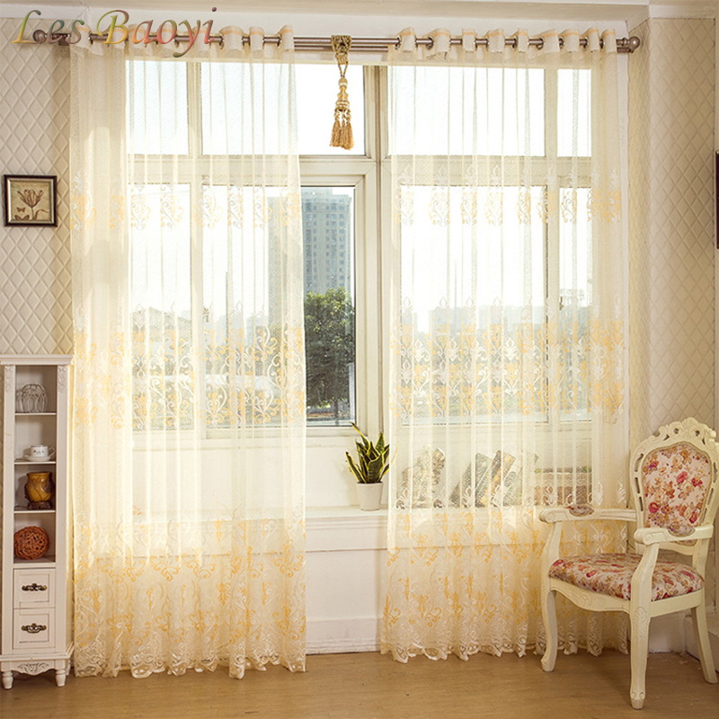Les Baoyi European Golden Royal Luxury Curtain for Bedroom Window Curtains Living Room Elegant Blinds Drapes Lace Curtains