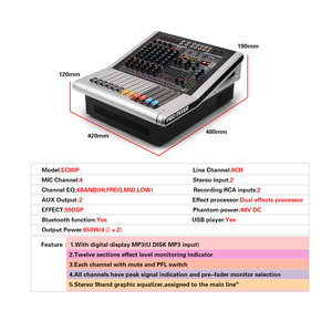 Image 5 - EYK EC80P 8 Channels 4 Mono,2 Stereo Powerd Audio Mixer 650W x 2 with 9 Band EQ 99DSP Dual Effects Bluetooth USB 2 AUX for Stage