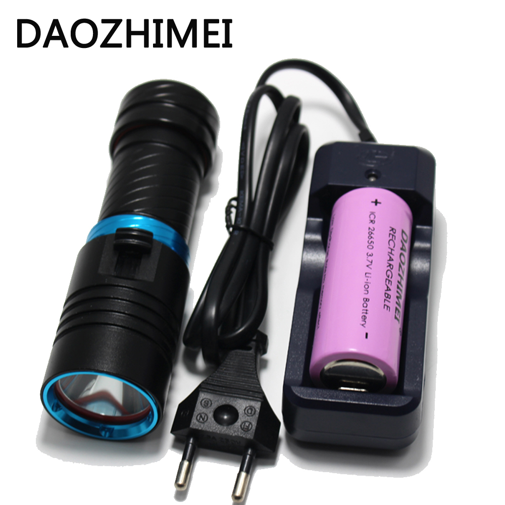 5000LM XM-L2 LED Scuba Diving Flashlight Ajustable Light Torch Underwater 100m Waterproof Diving Lamb Light+26650 Battery Charge 100m underwater diving flashlight led scuba flashlights light torch diver cree xm l2 use 18650 or 26650 rechargeable batteries