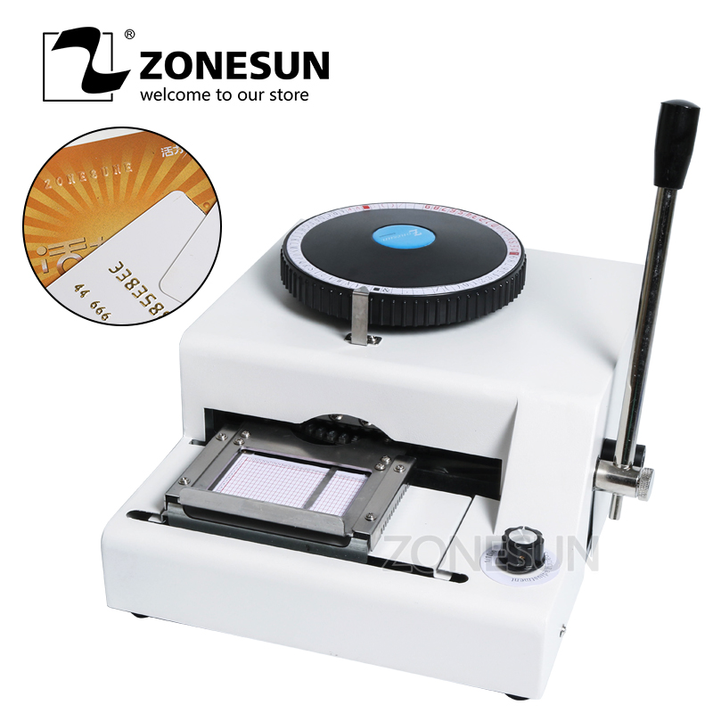 ZONESUN 72 Character PVC Card Embosser Stamping Machine Credit ID VIP Magnetic Embossing 72 character letters manual embosser credit id pvc card vip embossing machine usa free shipping