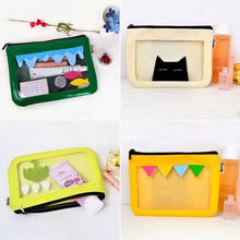 Top Selling Waterproof Transparent Makeup Organizer Cute Handbag Cosmetic Bag Zipper Closure Toiletry Wash Pouch