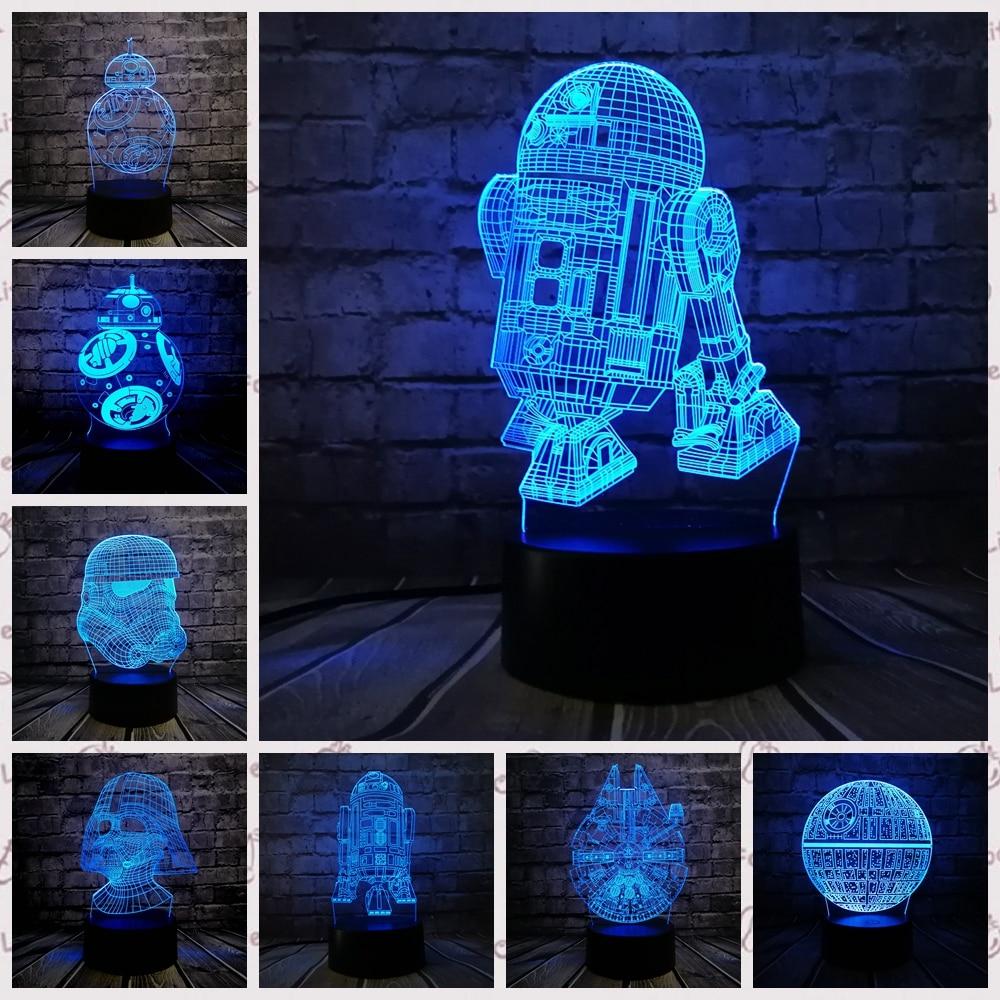 2019 NEUE 3D Lampe Death Star War R2D2 BB-8 Darth Vader Stormtrooper Ritter LED Tisch NACHT LICHT Multicolor Cartoon Spielzeug luminaria