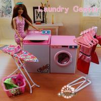 for barbie laundry Doll Accessories House Furniture Girl Birthday Gift Laundry Cleaner Dryer Center for Barbie toy