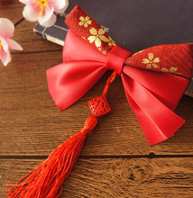 Princess sweet lolita EVIL LAMOUR The new year red cherry bronzing and wind barrette handmade bow tassel CZM006(China)