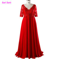 Fashion Red Long Plus Size Evening Gowns 2017 Sexy V-Neck Formal Evening Party Dress Tulle Appliques Mother of the Bride Dresses