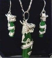 Gerçek doğal boncuk toptan Ucuz Pretty doğal gümüş tabak yeşil gem ejderha kolye kolye küpe Takı kadınlar için