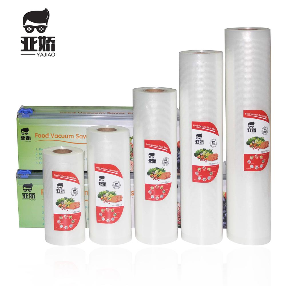 YAJIAO With Cutting Knife Box Food Vacuum Bag For Vacuum Sealer Food Fresh Kitchen Long Keeping Storage Bag 12/15/20/25/28*500cm