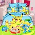 3d Flying smile bed linen kids mouse bedding sets 3PCS cartoon yellow Pokemon duvet cover set single/twin/full size bedspreads