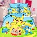 Vuelo 3d sonrisa ropa de cama niños funda nórdica sistemas del lecho del ratón 3 UNIDS de dibujos animados Pokemon amarillo set single/doble/colchas tamaño completo