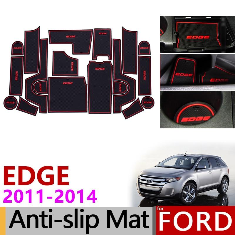 Anti Slip Gate Slot Mat Rubber Coaster for Ford EDGE 2011 2014 Facelift Interior Trim Stickers Accessories 2011 2012 2013 2014|Car Stickers| |  - title=
