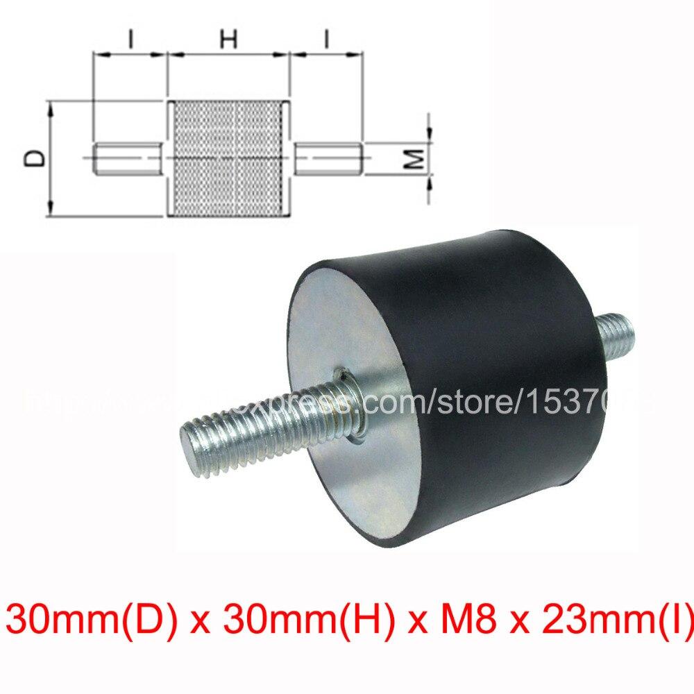2 PCS tipo de vibração de borracha amortecedor VV 30mm (D) x 30mm (H) x M8 rosca x 23mm (I)
