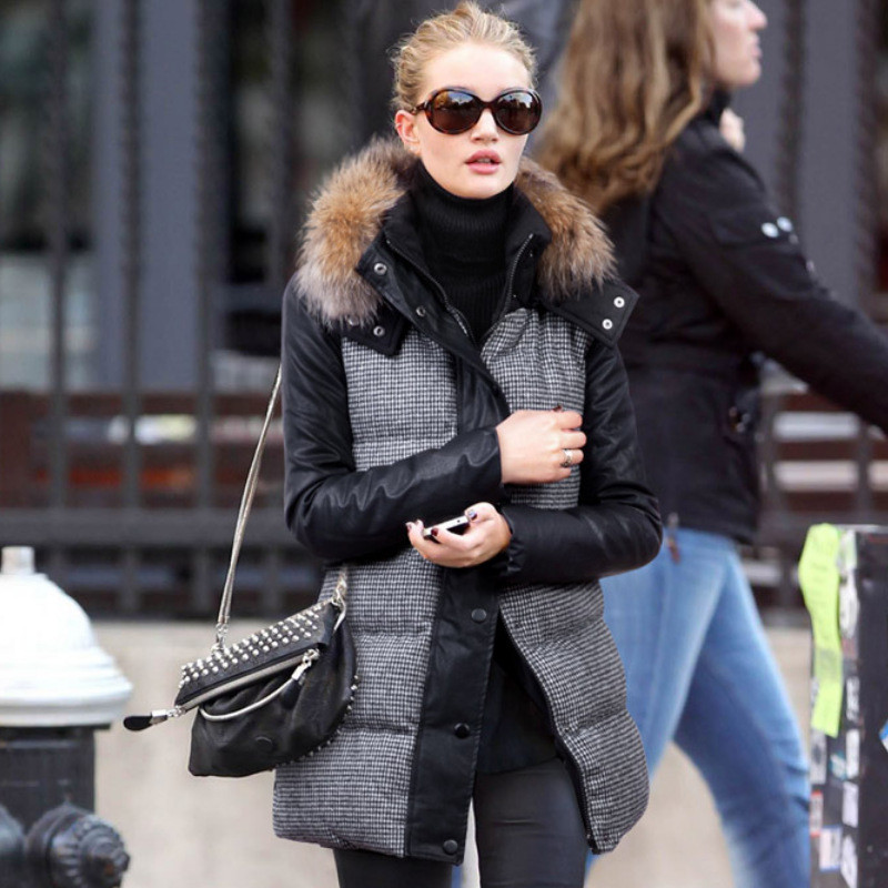New Winter Jacket Women Fashion Down Wadded Coat Female Houndstooth Fur Collar Cotton Coat Hooded Parka Casual Jackets C1182 подвесной светильник alfa italia bianko 20071