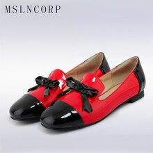 цены на plus size 34-43 Fashion Summer lovely solid women shoes Patent Leather women Slip On flats shoe single boat shoes causal loafers  в интернет-магазинах