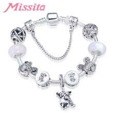 MISSITA Cute Mickey Series Bracelets with Lovely White Minnie Charms Beads Brand Bracelet for Women Anniversary Gift