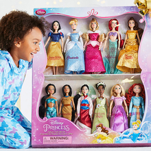 USA 8 Corp All 11pcs Genuine Disney Princess doll full set Royal Shimmer Doll Rapunzel Classic Doll with Pascal Figure toy