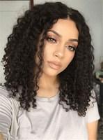 EAYON волосы бесклеевого человеческих волос Боб парики свободные глубоко вьющиеся для черных Для женщин с волосами младенца 130% плотность бра