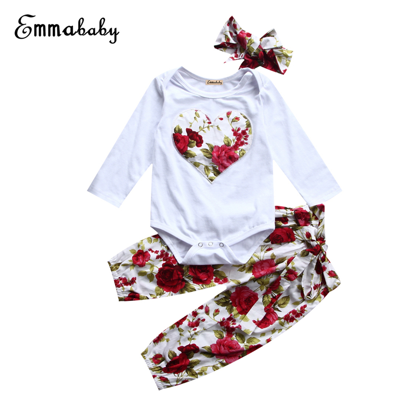 Baby Girl Floral Clothes Set 3Pcs Newborn Baby Girl Tops Heart Bodysuit+Pants 2017 New Arrival Outfits Girls Bebes Clothing Sets 3pcs set cute newborn baby girl clothes 2017 worth the wait baby bodysuit romper ruffles tutu skirted shorts headband outfits