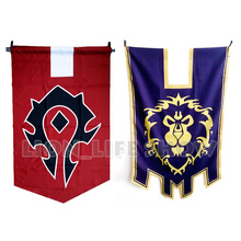 WOW World of Warcr Alliance Horde Banner Embroidery triangle Flag Dacron Cosplay Accessory fvip wow for the horde world of warcraft backpack school bags luminous backpacks tribe alliance nylon mochila galaxia