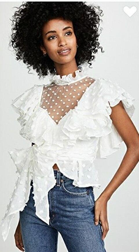 Motif Chemisiers Femmes 2019 Blouse White Style Sexy Points Blanche Dentelle Nouveau apricot black Perspective De Chemise Manches Courtes Mode Top Ébouriffé Pour PqrTgpP
