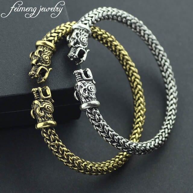 623b4fde0169 Gótico Punk Norse Viking pulsera de alta calidad de moda dos cabezas de  dragón tornillo pulseras brazalete para hombres accesorios de joyería Cool
