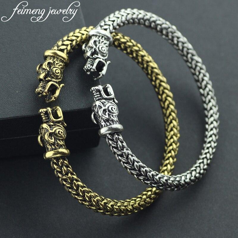 Gothic Punk Norse Viking Bracelet High Quality Fashion Two Dragon Heads Screw Bracelets Bangle For Men