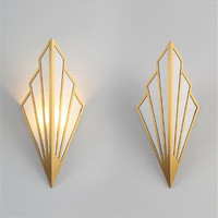 Post modern Simple Nordic Gold/Black Copper Cloth Led Wall Lamp for Living Room TV background Bedroom Aisle Stair Deco