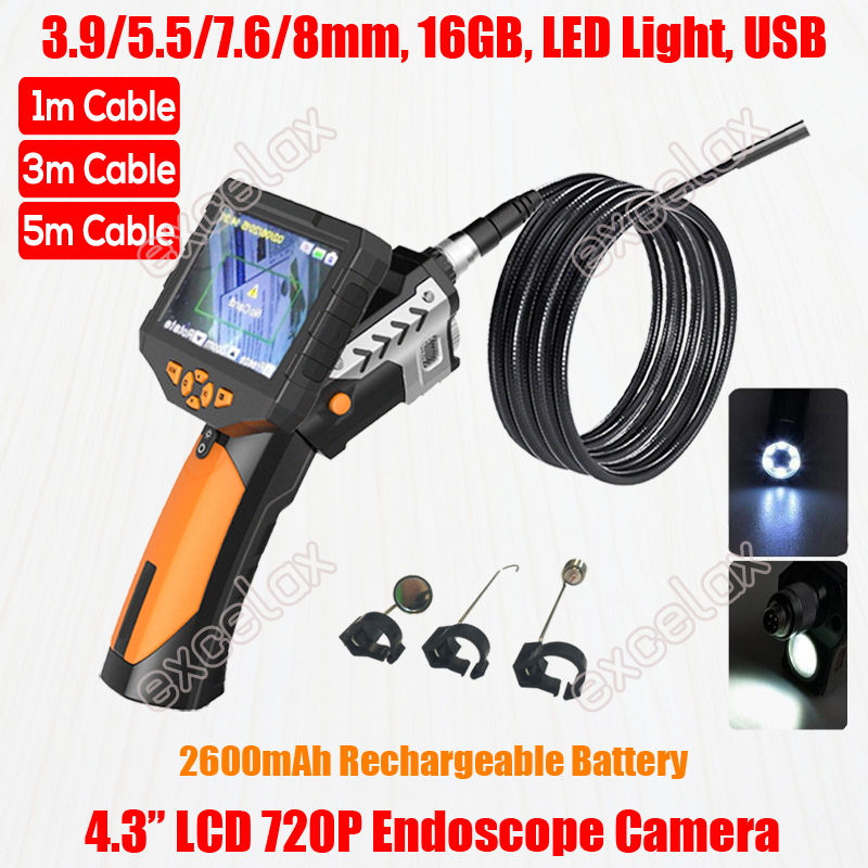 NEW 720P 4 3 LCD 3 9mm 5 5mm 7 6mm 8mm Handheld Pipe Inspection Camera