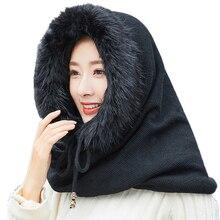 SUOGRY 女性冬暖かいニット帽子スカーフセット屋外スポーツプラスぬいぐるみ Skullies ビーニーはフード付きスカーフ