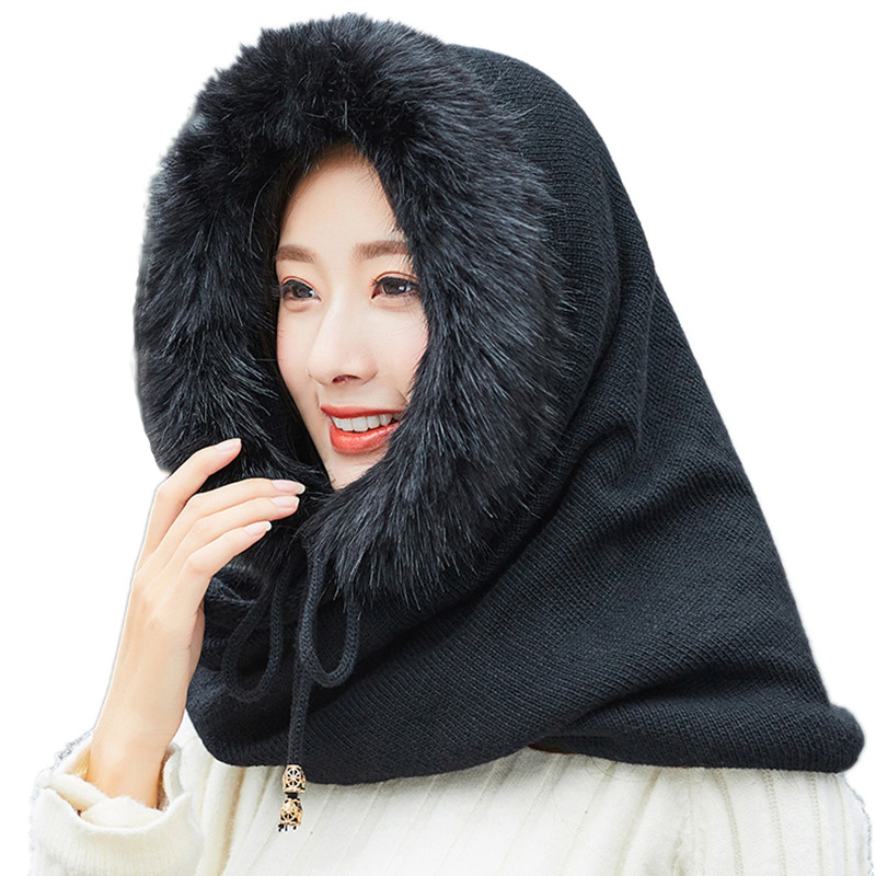 SUOGRY Women Winter Warm Knitted Hat Scarf Set Outdoor Sport Plus Plush Skullies Beanies Caps Hooded Scarves