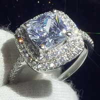 Lovers Ring for Women Sparkling Classical Jewelry 925 Sterling Silver Cushion Shape 5A Zirconia CZ Wedding Female Band Ring Gift