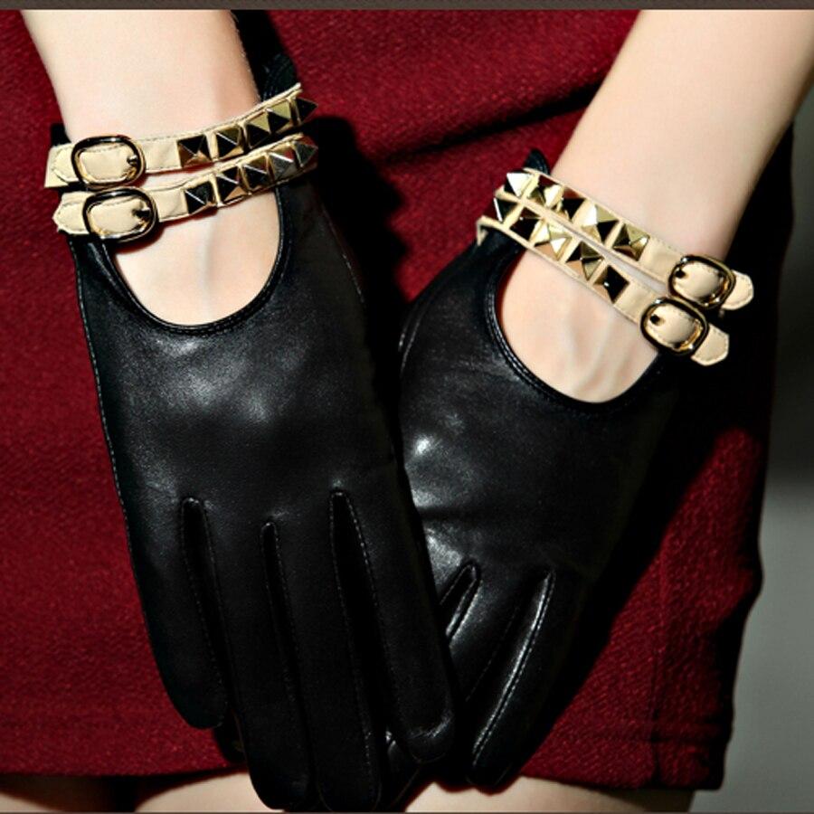 Ladies leather gloves designer - 100 High Quality Autumn And Winter Elegant Ladies Branded Designer Hot Trendy Genuine Lambskin Leather