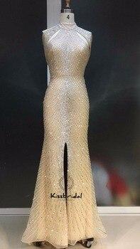 Magnífico Champagne vestido de noche largo elegante Hlater cuello Tulle  rebordear partido vestidos largos 1018f57e15aa