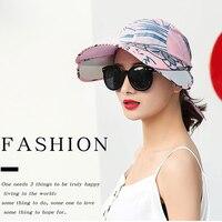 2019 Summer Visor Female Foldable Sun Visor Hats Sunscreen Adjustable Empty Top Baseball Cap Breathder UV Protection Sun Hat
