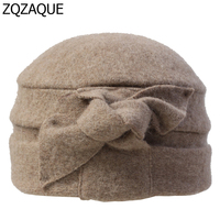 2018 Korea Style New Hot 100% Wool Made Women's Fedoras Bowknot Decorated 6 Colors Winter Warm Hats Best Gifts For Female SY745