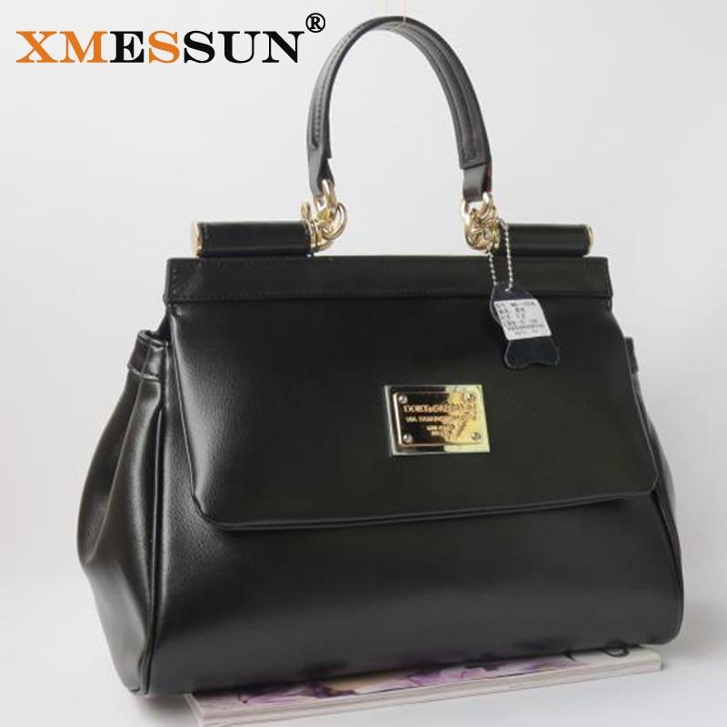Women Genuine Leather Handbags Famous Brand Real Leather Shoulder Bag Crossbody Bags Cowhide Big Black Tote Messenger Bags  B191