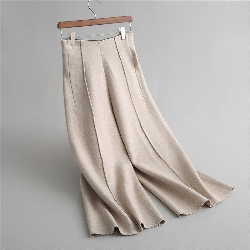Women solid color knit   pants   casual   wide     leg     pants