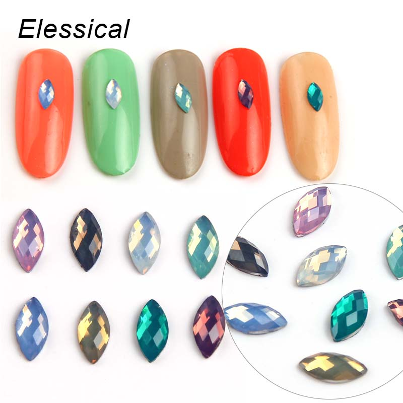 Elessical 100pcs/bag Horse Eyes Opal Nail Rhinestones 3D Nail Art Decorations Nail Stickers Manicure Tools 24pcs lot 3d nail stickers decal beauty summer styles design nail art charms manicure bronzing vintage decals decorations tools