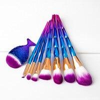 8pcs Diamond Shape Rainbow Handle Makeup Brushes Set 1pcs Mermaid Foundation Powder Blush Brush Face Eyeshadow