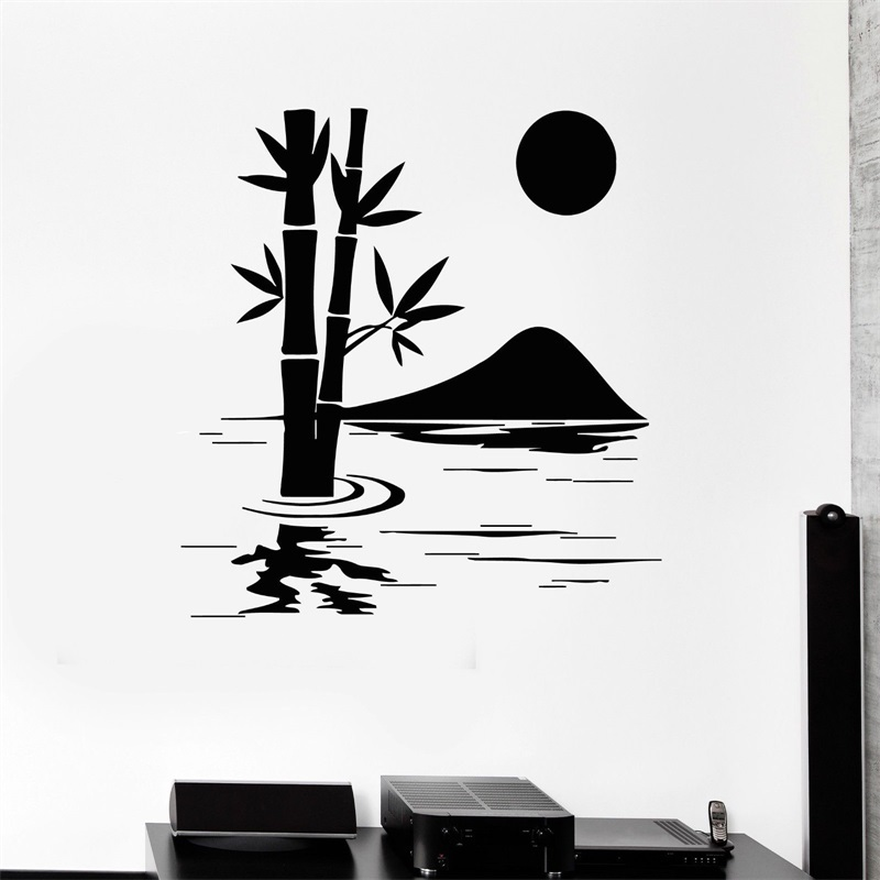 Wall Decal Bamboo Lake Nature Home Decoration Art Room Vinyl Stickers