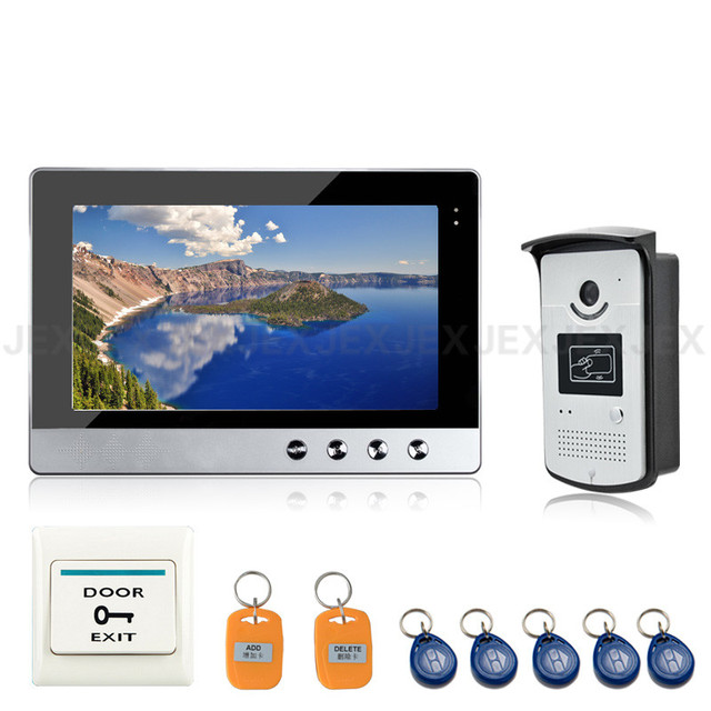 New 10 inch Color Video Door Phone Intercom Doorbell System + 1 Monitor + RFID Access Waterproof Camera In Stock