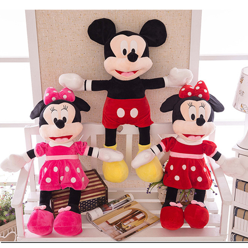 1pc Cartoon Stuffed Mickey&Minnie Mouse Plush Baby Cute Toy Baby Animal Dolls Birthday Wedding Valentine's Day Gifts 40/60cm