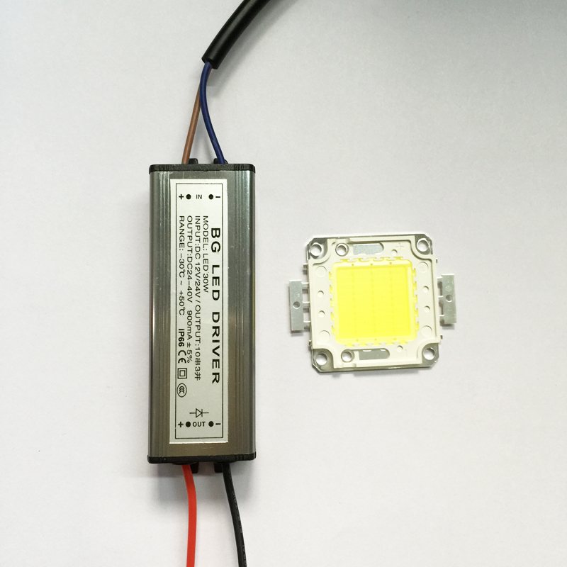 free shipping 30W High Power LED flood Light COB chip + AC / DC 12V input LED floodlight power supply Led driver 90w led driver dc40v 2 7a high power led driver for flood light street light ip65 constant current drive power supply