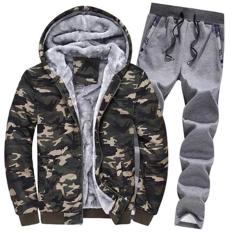 Winter Fashion Brand Tracksuit For Men 2 Pieces Set Camouflage Hooded Jacket + Pants Track Suit Mens Sportswear Sweat Suit 5XL
