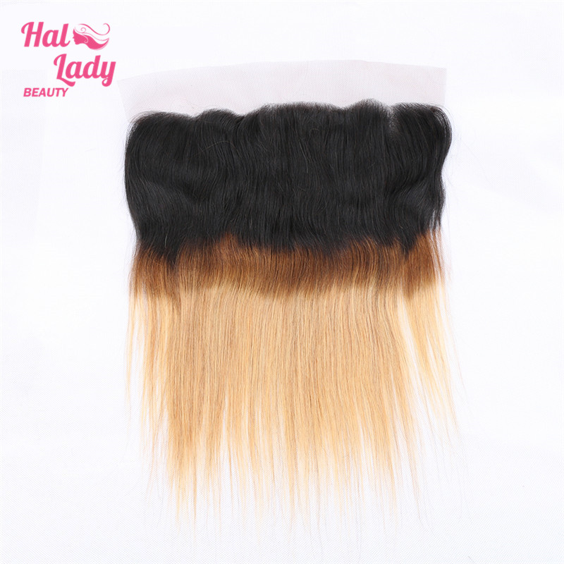 Halo Lady Beauty 100% Human Hair Lace Frontal 1b/4/30 Three Tone Ombre Brazilian Straight 13*4 inch 8-20inch Non Remy Hair