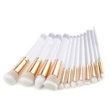 12Pcs Clearhandle metal tube Makeup Brushes Tools Set Nylon Hair Foundation Blush Powder Concealer Brush Make Up Cosmetic Kit