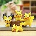 4 unids Nuevo estilo Japonés anime Pikaqiu Figuras de Acción Mini Colecciones de Muñecas Juguetes para Niños de regalo
